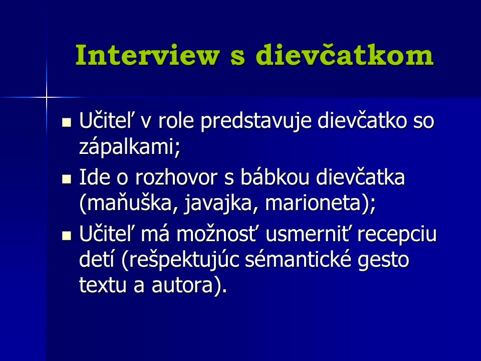 Interview s dievčatkom