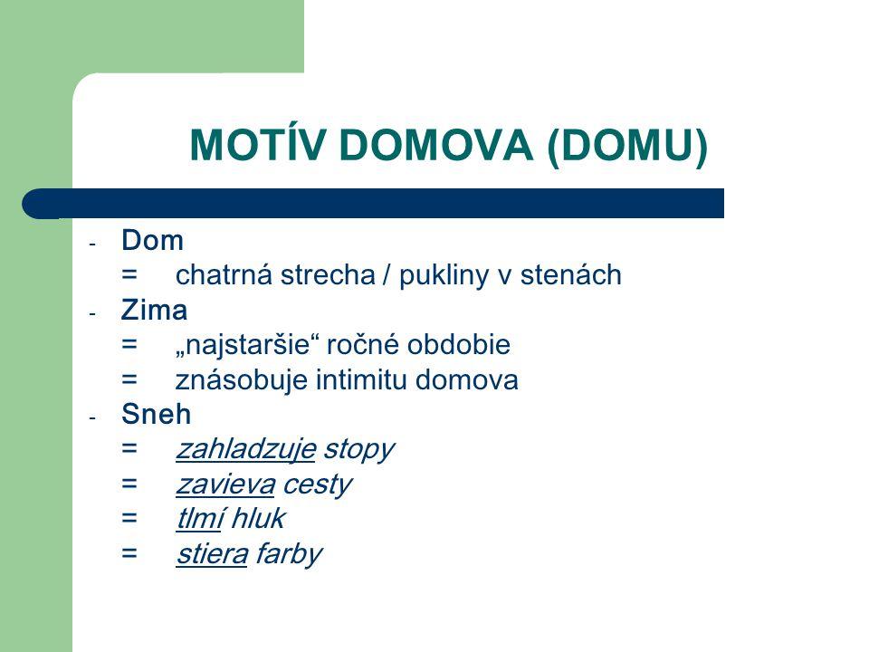 MOTÍV DOMOVA (DOMU) Dom = chatrná strecha / pukliny v stenách Zima