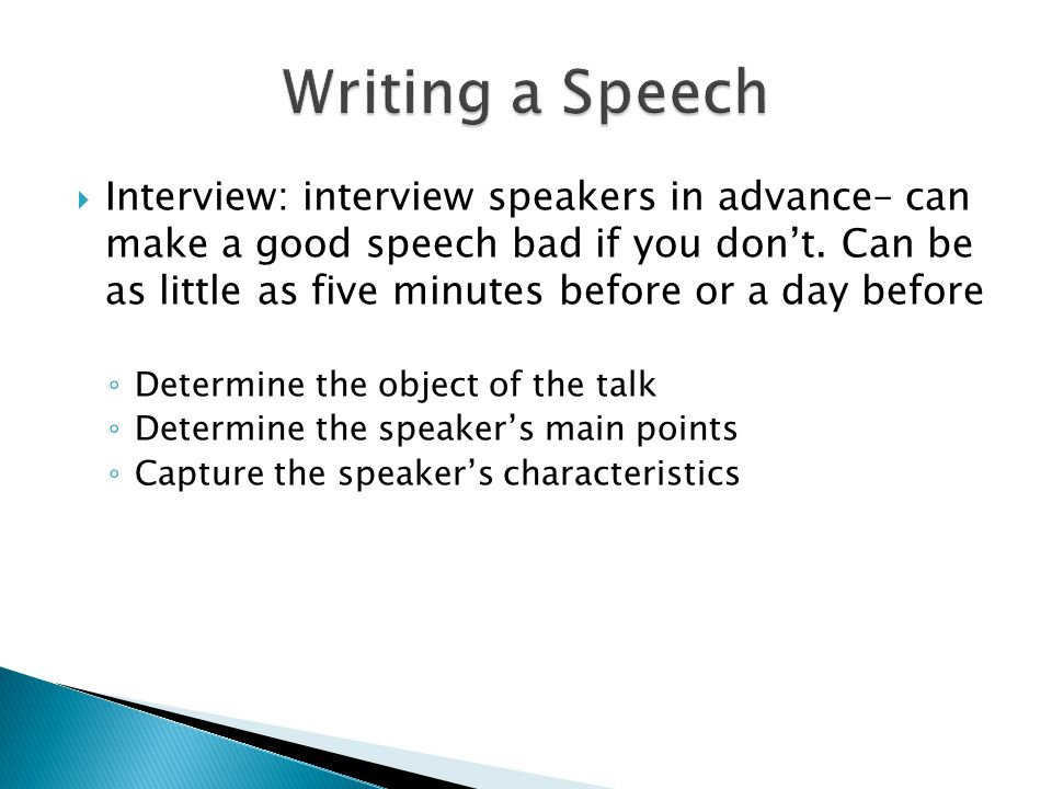 points to consider when writing a speech