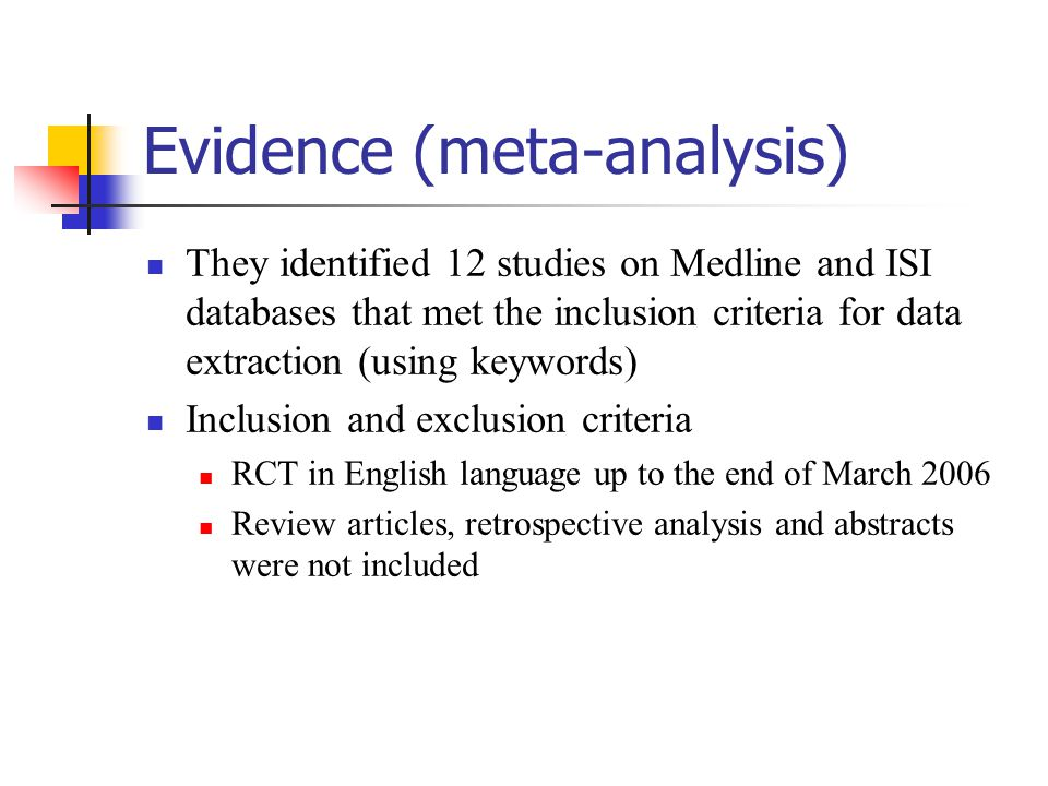 Evidence (meta-analysis)