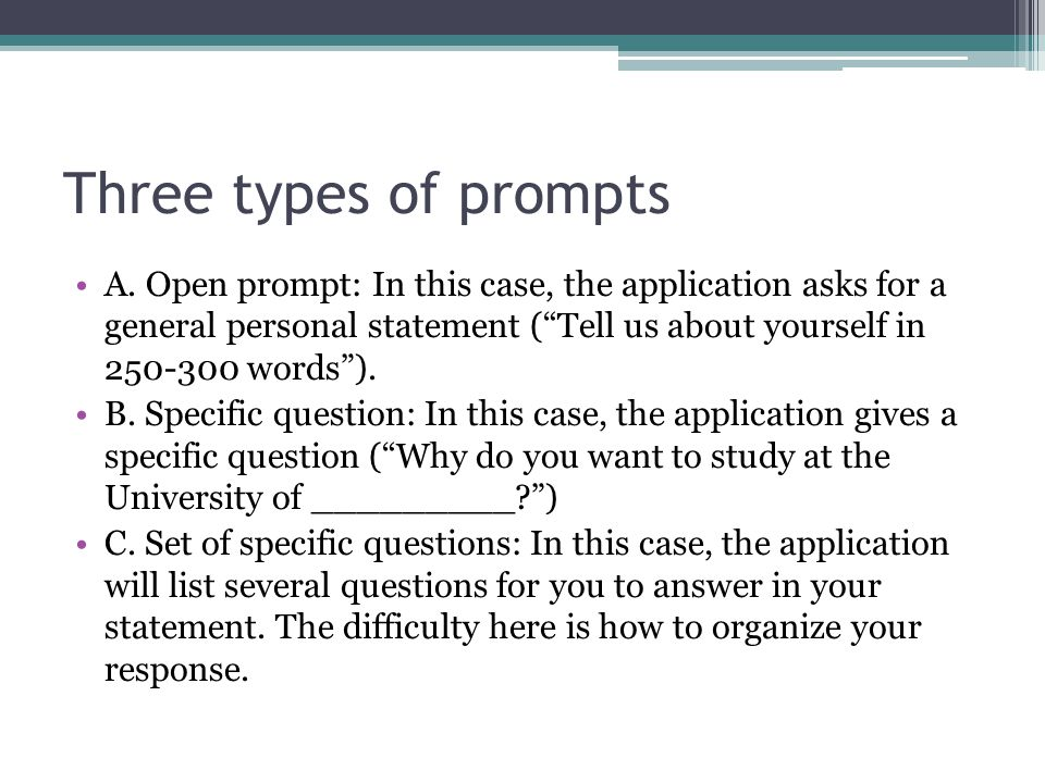 3 types of essay questions Go straight to our college application essay lab for a step-by-step walkthrough of the writing process, from brainstorming all the way through to revisions applying to colleges is that you'll be able to recycle some of the essays you write for different schools, so you'll probably only have to write 3-4 essays at most.