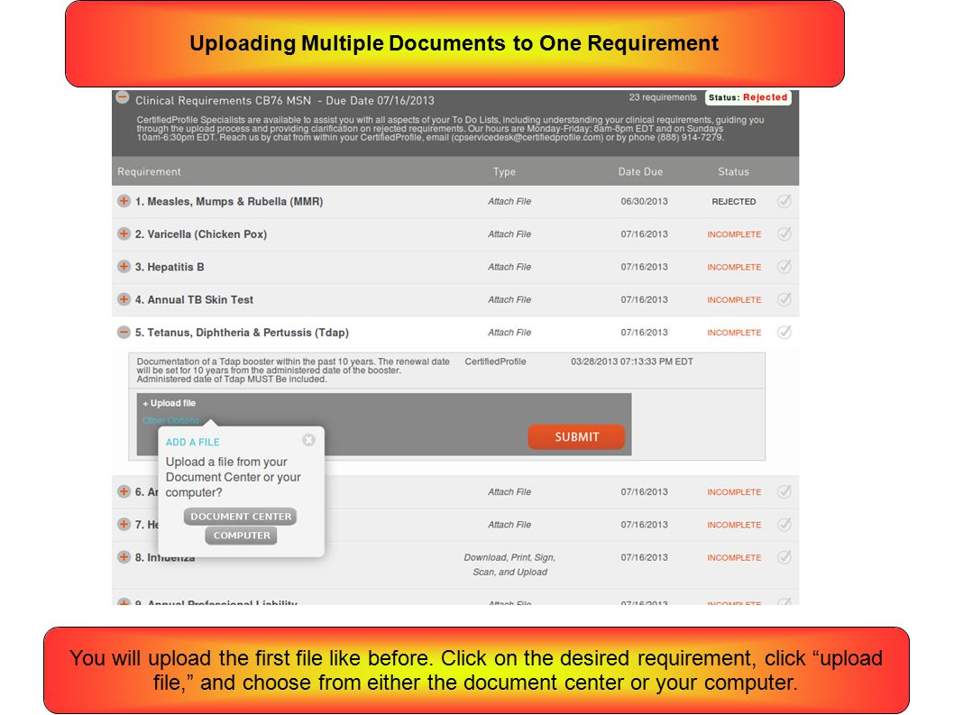 Uploading Multiple Documents to One Requirement