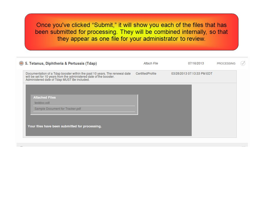 Once you ve clicked Submit, it will show you each of the files that has been submitted for processing.