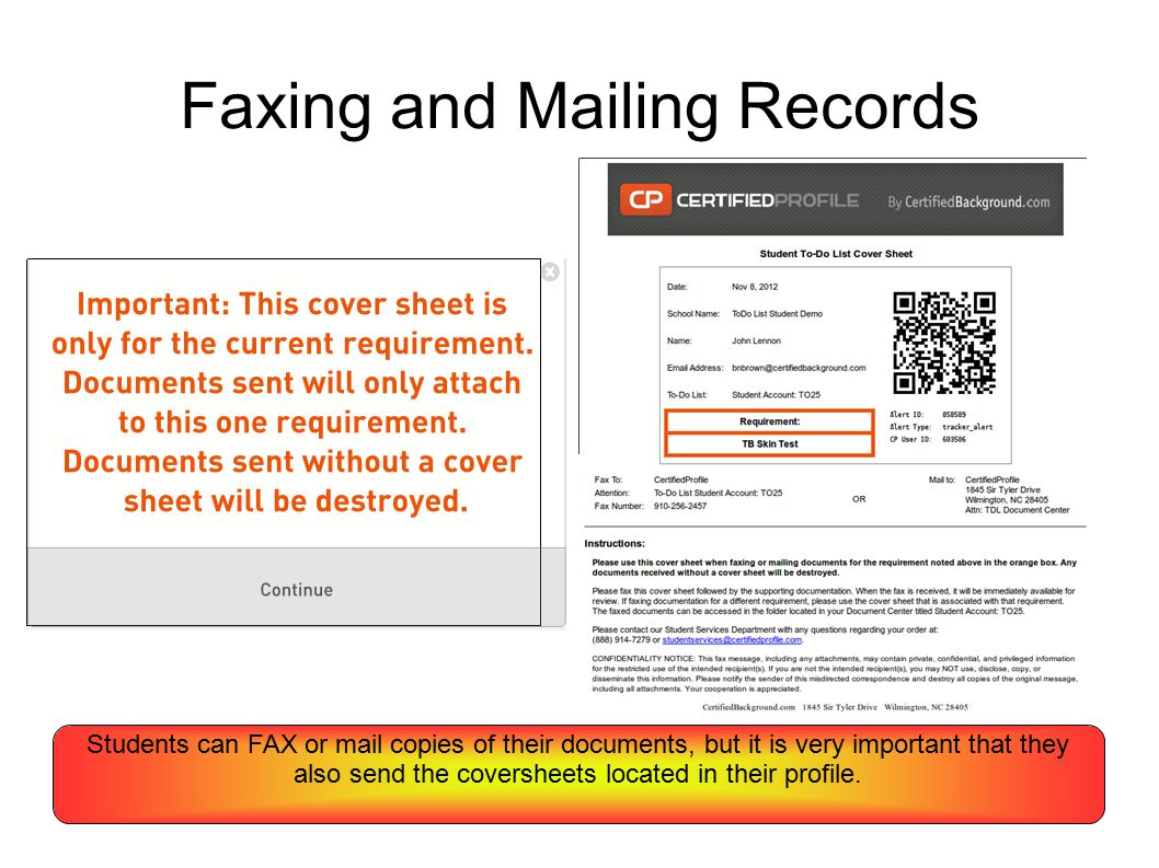 Faxing and Mailing Records