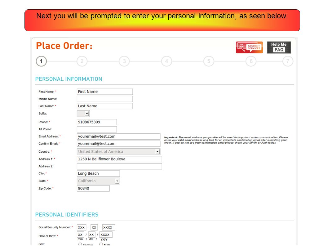 Next you will be prompted to enter your personal information, as seen below.