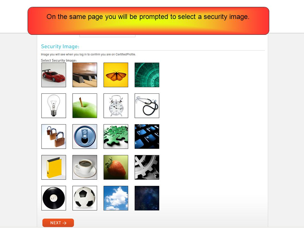 On the same page you will be prompted to select a security image.