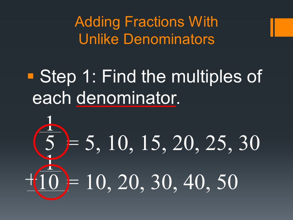 how to add fractions with unlike denominators step by step