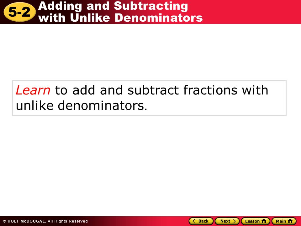 how to add and subtract unlike fractions