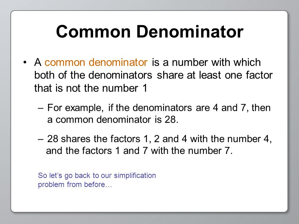 Common Denominator Worksheets | Dr Mike'-s Math Games for Kids