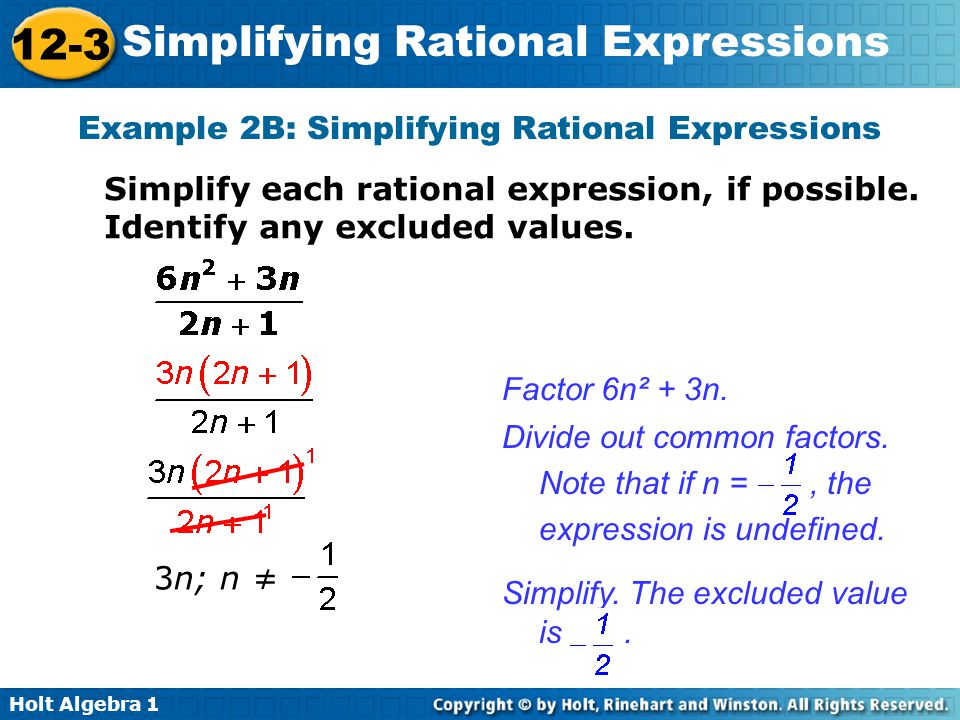Example 2B: Simplifying Rational Expressions