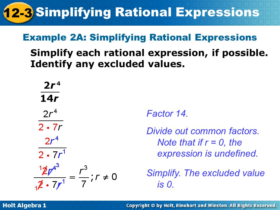 Example 2A: Simplifying Rational Expressions