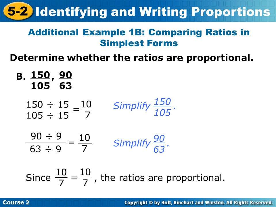 5-2 Identifying and Writing Proportions Warm Up Problem of the Day ...