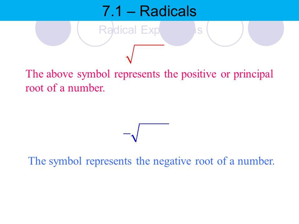 7.1 – Radicals Radical Expressions