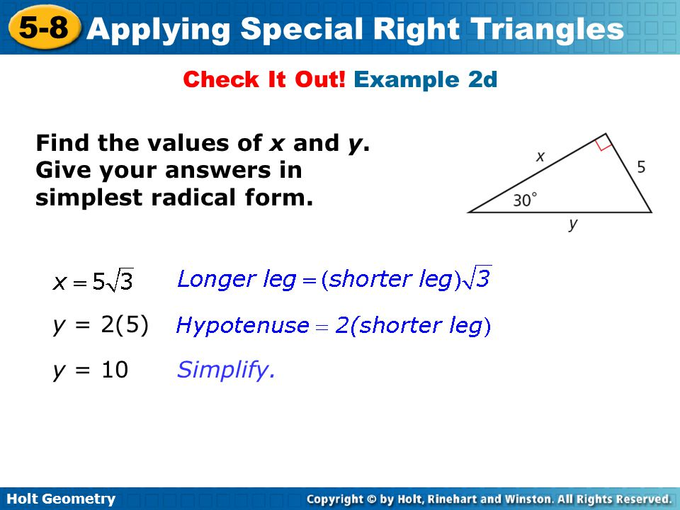 Objectives Justify and apply properties of 45 45 90 triangles – Geometry Special Right Triangles Worksheet Answers
