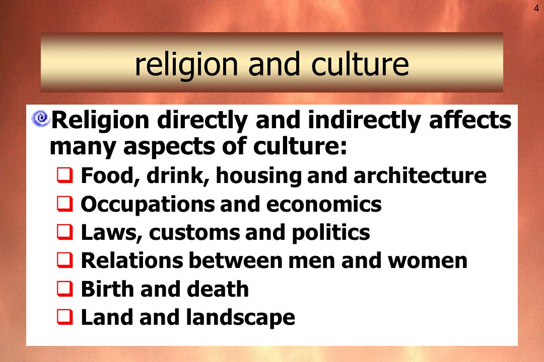 relationship between religion and other aspects of culture societies