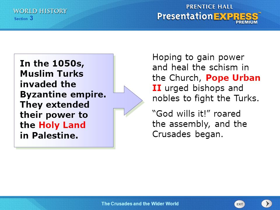 Hoping to gain power and heal the schism in the Church, Pope Urban II urged bishops and nobles to fight the Turks.