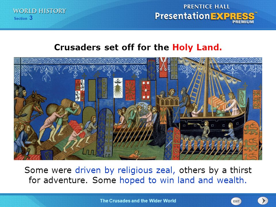 Crusaders set off for the Holy Land.