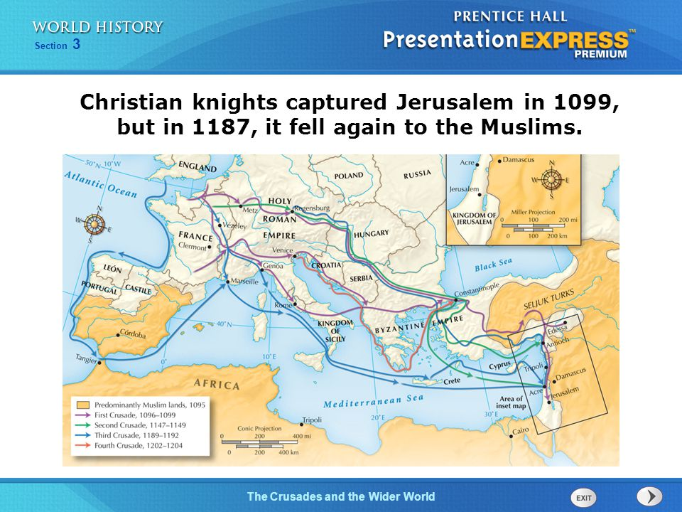 Christian knights captured Jerusalem in 1099, but in 1187, it fell again to the Muslims.