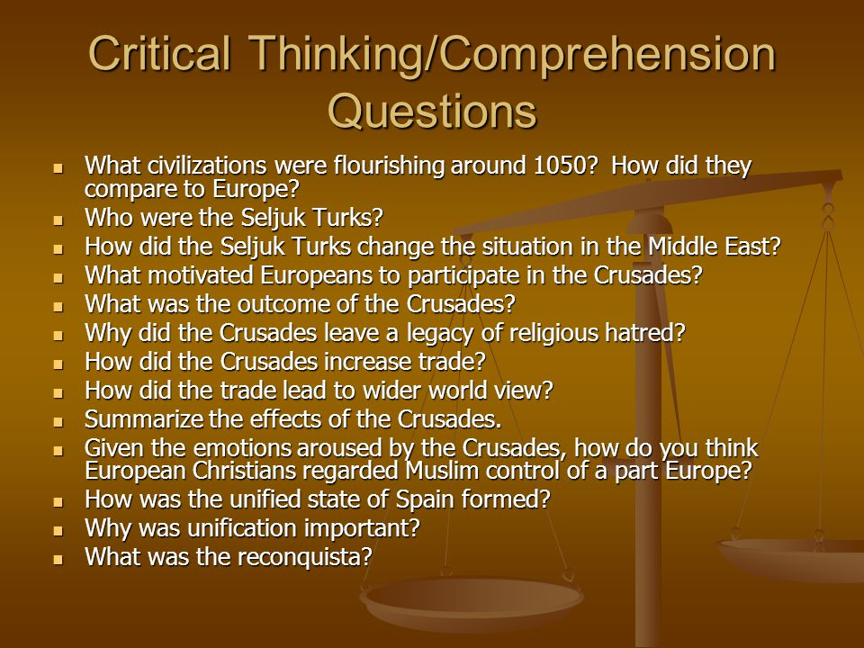 Critical Thinking/Comprehension Questions