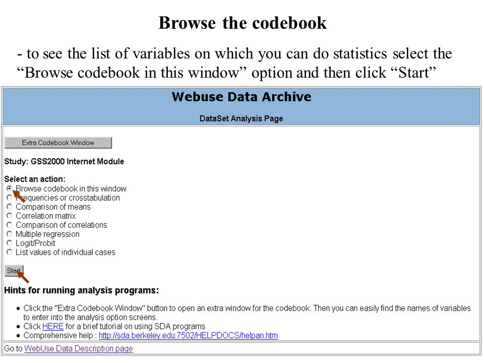 Browse the codebook
