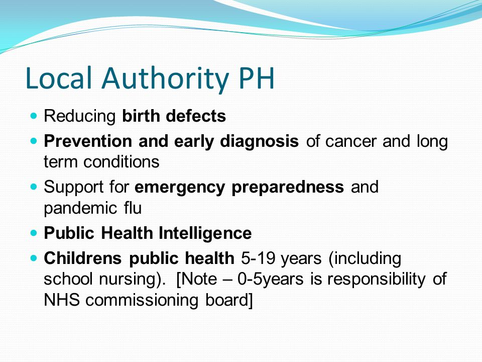 Local Authority PH Reducing birth defects