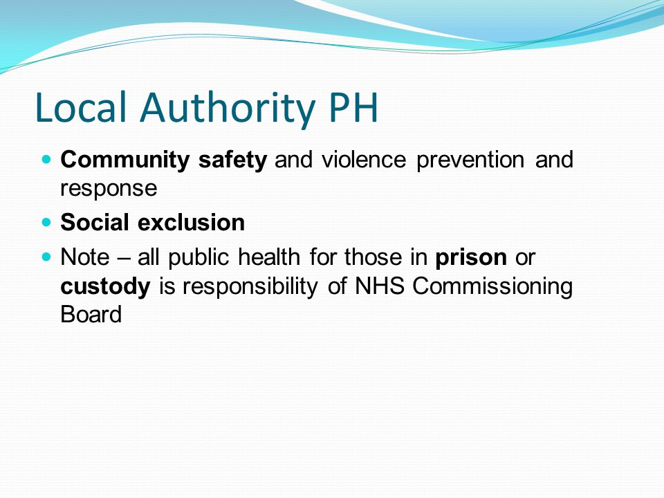 Local Authority PH Community safety and violence prevention and response. Social exclusion.