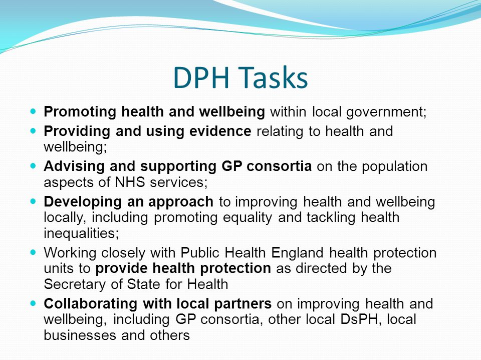 DPH Tasks Promoting health and wellbeing within local government;