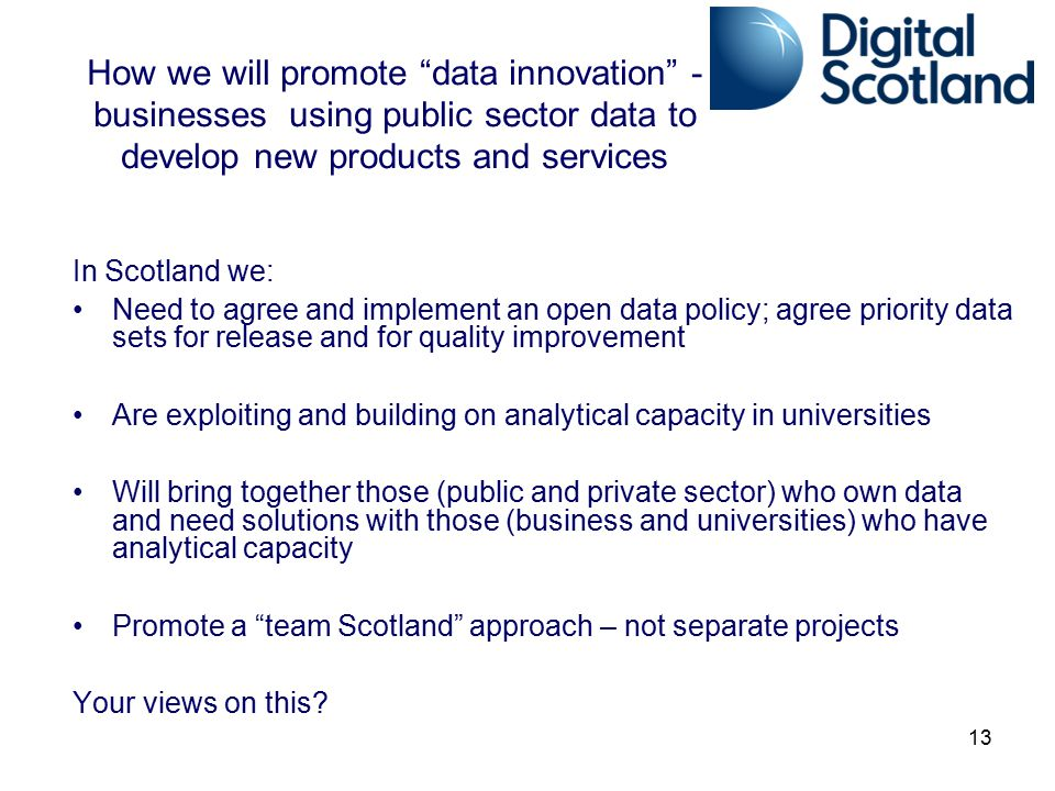 How we will promote data innovation - businesses using public sector data to develop new products and services