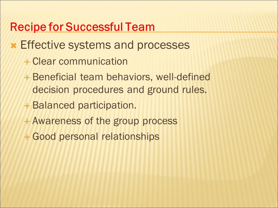 Recipe for Successful Team Effective systems and processes