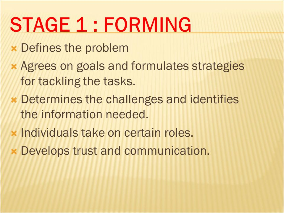 STAGE 1 : FORMING Defines the problem