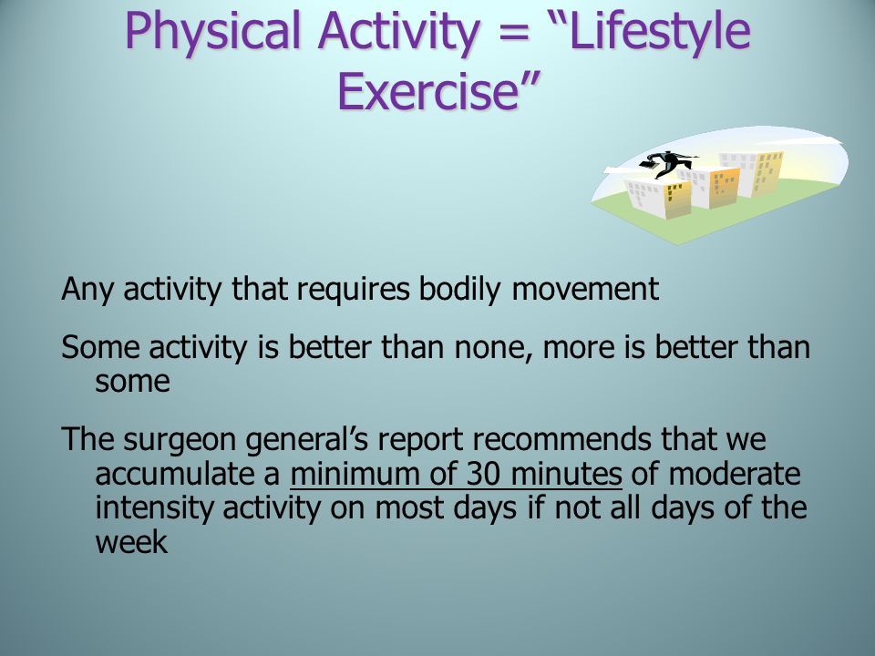 Physical Activity = Lifestyle Exercise