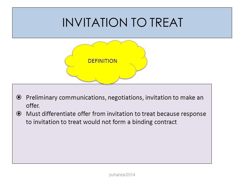 law offer and invitation to treat According to law teacher, the difference between an offer and an invitation to treat is that an invitation to treat occurs when a client invites contractors to make him an offer, while an offer occurs when the client offers the job to one contractor without advertising the job or allowing other.