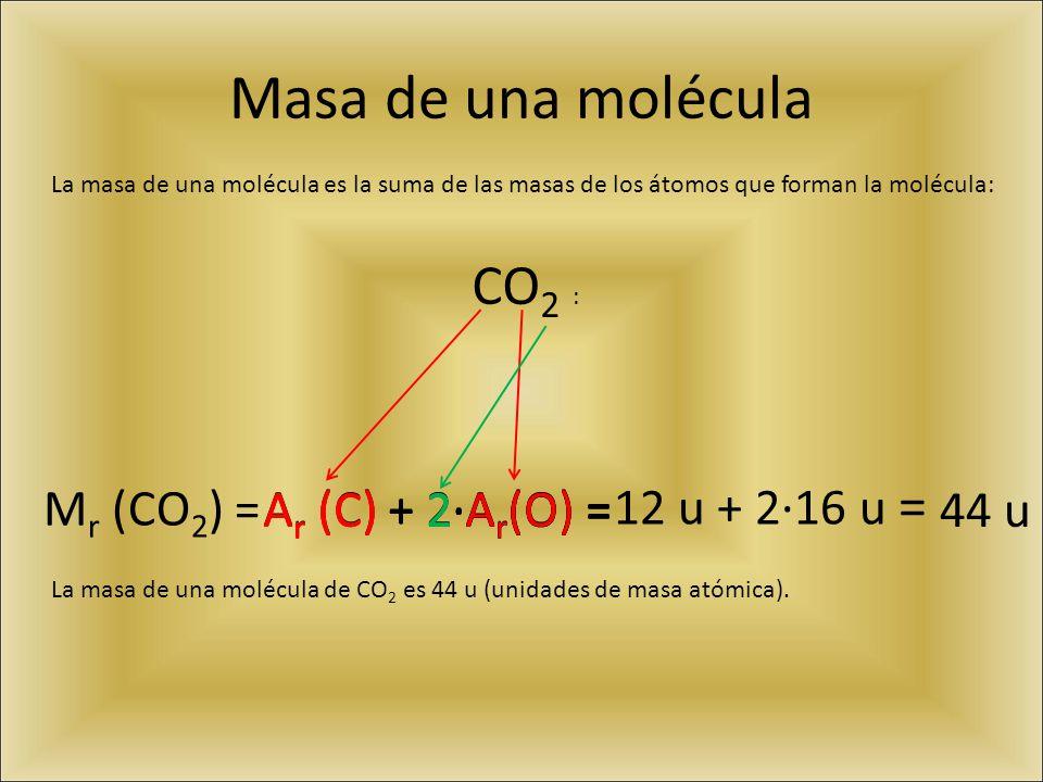 Masa de una molécula CO2 : Mr (CO2) = Ar (C) + 2·Ar(O) =