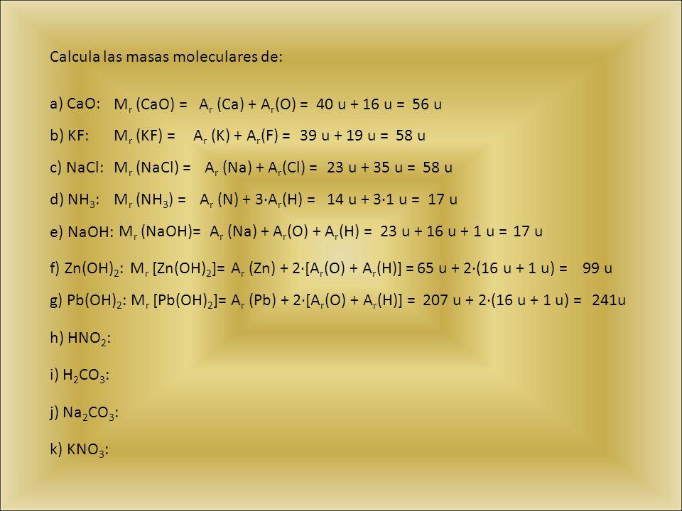 Calcula las masas moleculares de: