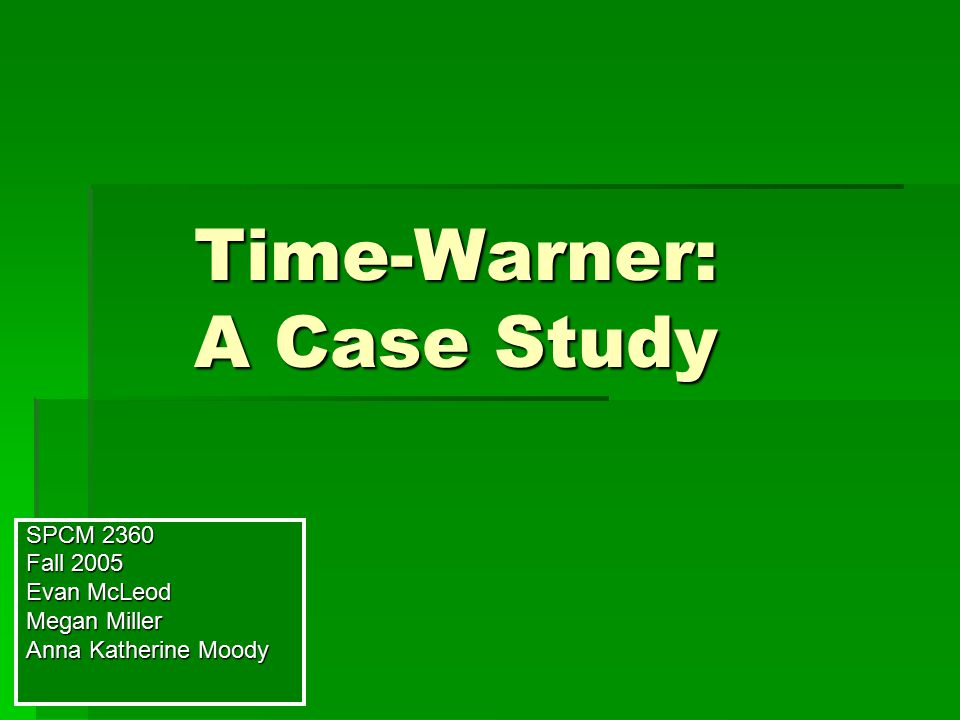time warner case study The merger between america online (aol) and time warner is almost  the  aol time warner merger offers a unique case study for the.
