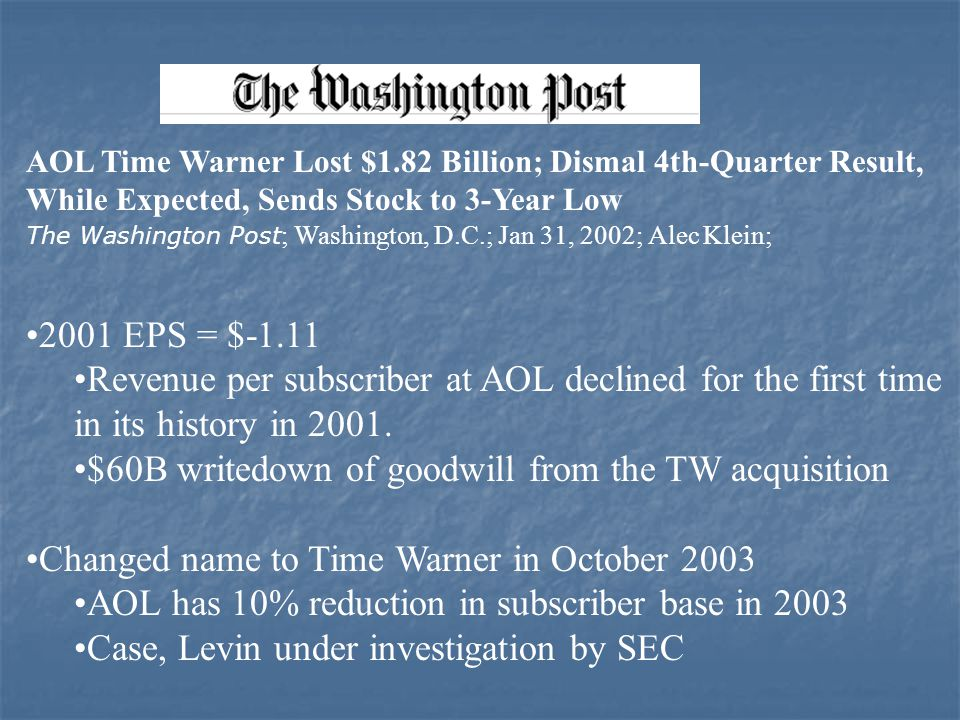 aol time warner case analysis case summary the merger of aol-time warner hit rock bottom in january 2003, when the company posted a loss of $987 billion for 2002, the largest corporate loss in.