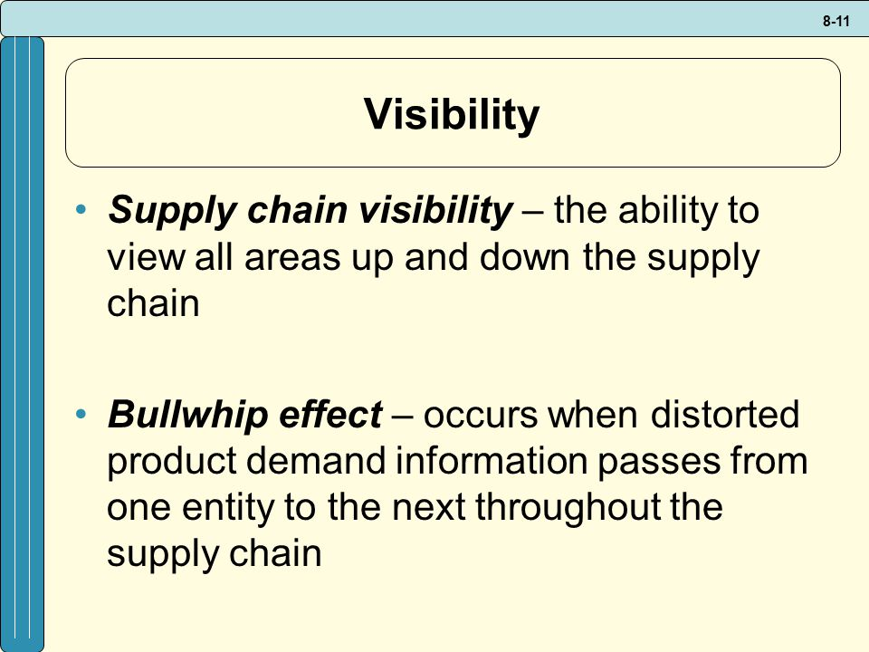 Visibility Supply chain visibility – the ability to view all areas up and down the supply chain.