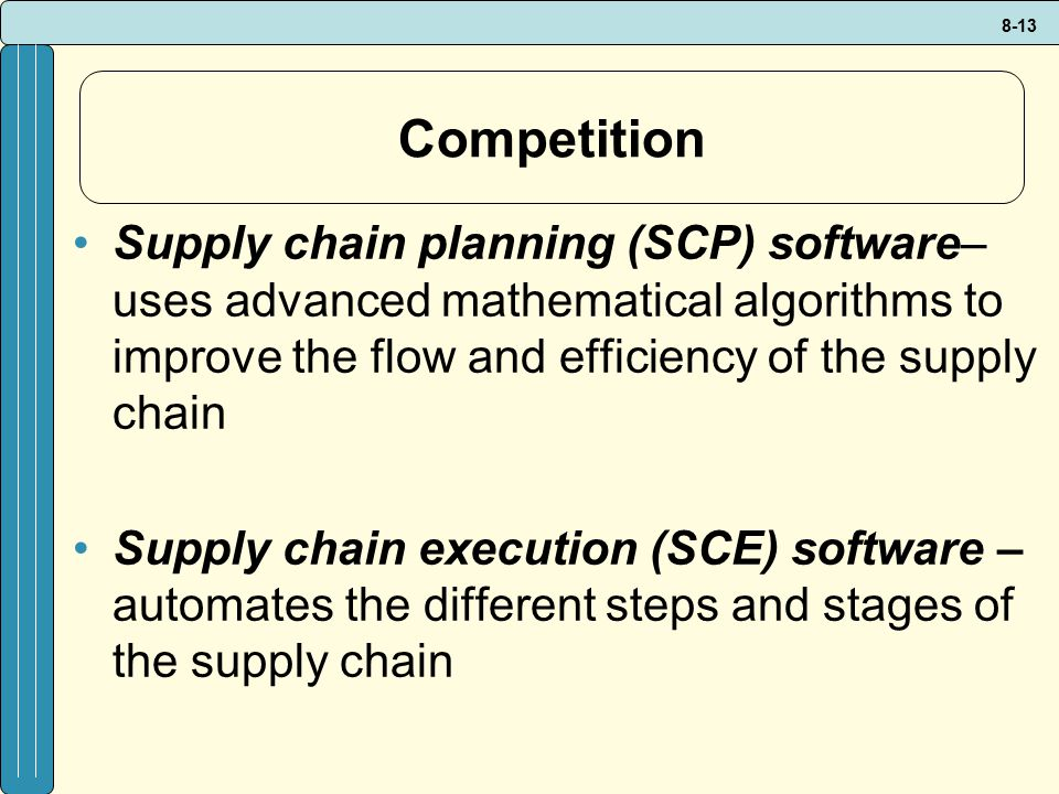 Competition Supply chain planning (SCP) software– uses advanced mathematical algorithms to improve the flow and efficiency of the supply chain.