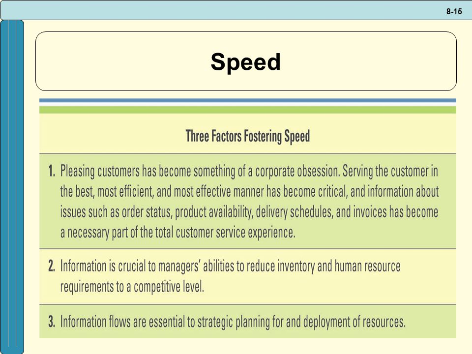 Speed Why is information speed critical in a supply chain