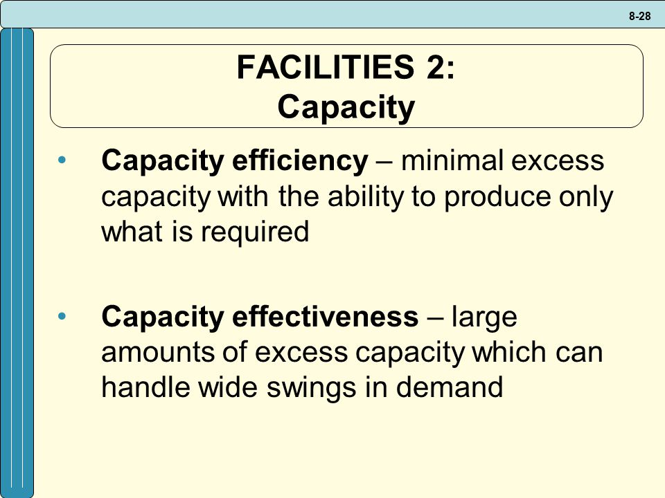FACILITIES 2: Capacity Capacity efficiency – minimal excess capacity with the ability to produce only what is required.