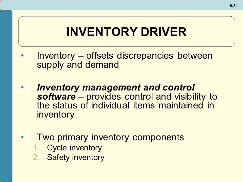 INVENTORY DRIVER Inventory – offsets discrepancies between supply and demand.