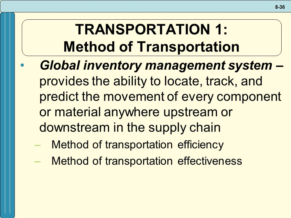 TRANSPORTATION 1: Method of Transportation
