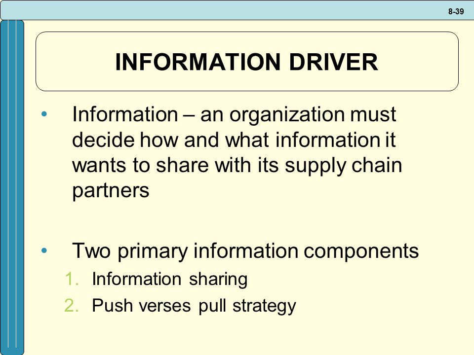 INFORMATION DRIVER Information – an organization must decide how and what information it wants to share with its supply chain partners.