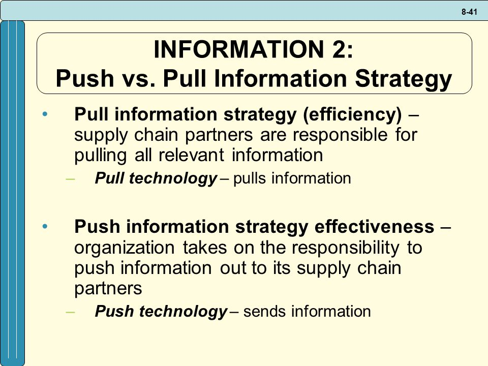 INFORMATION 2: Push vs. Pull Information Strategy