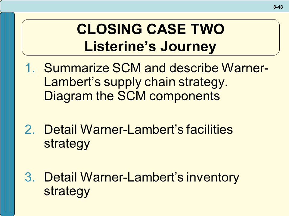 CLOSING CASE TWO Listerine's Journey