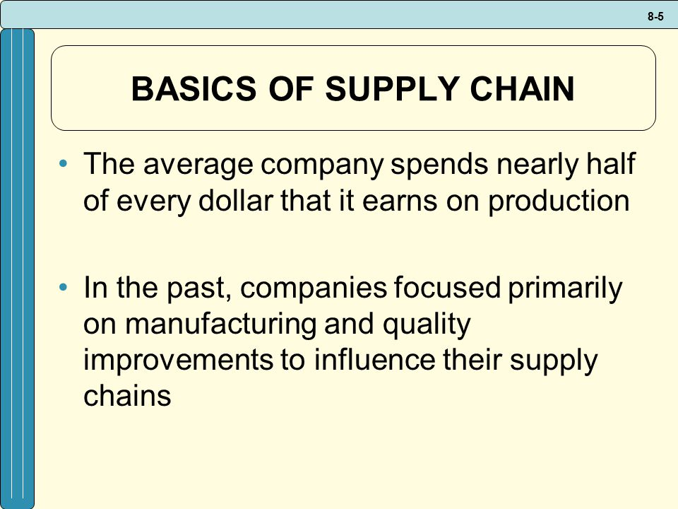 BASICS OF SUPPLY CHAIN The average company spends nearly half of every dollar that it earns on production.