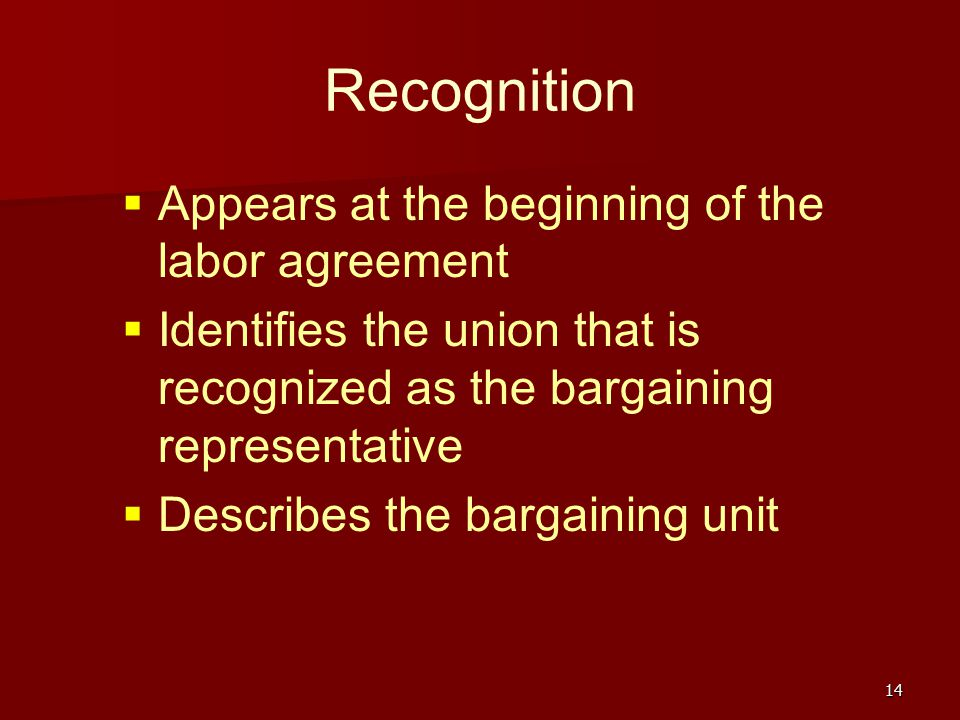 Recognition Appears at the beginning of the labor agreement