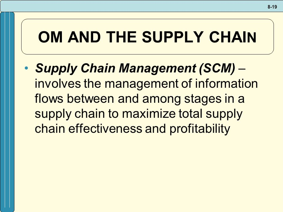 OM AND THE SUPPLY CHAIN