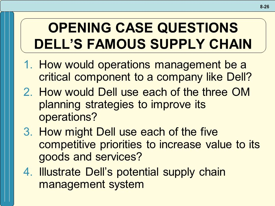 OPENING CASE QUESTIONS DELL'S FAMOUS SUPPLY CHAIN