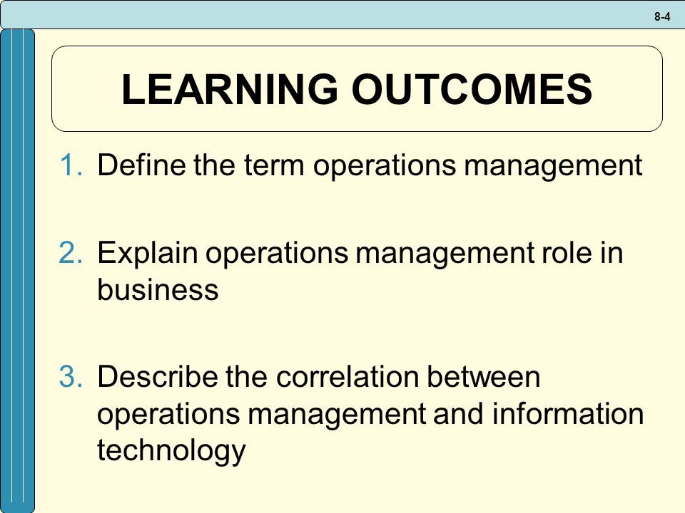 LEARNING OUTCOMES Define the term operations management